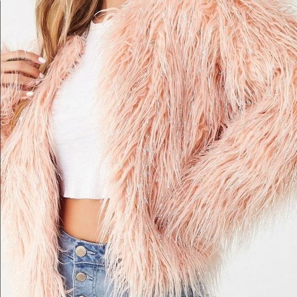 Metallic Shaggy Faux Fur Jacket